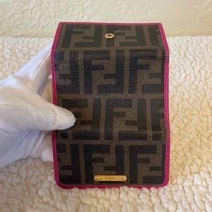 FENDI zucca key holder in fuschia pink